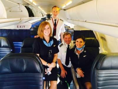 Captain Ben Woods, Flight Attendant Colleen Tomasinio Lock, First Officer David Tietz, Flight Attendant Meghan Lichte