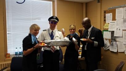 ORD crew members enjoying burritos!