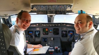 Director of Flight Operations Randy Bratcher and Chief Pilot Brad Sargent were behind the controls on the flight from RDU to LGA.